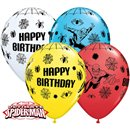 "11"" Spider Man Birthday Latex Balloons, Qualatex 18672, Pack of 25 Pieces"