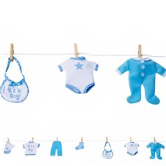 Baby Blue Clothes Garland - 1.2m, Amscan A229658, 1 piece
