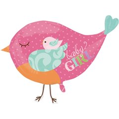 Tweet Baby Girl Bird Pink SuperShape Foil Balloon-  84x66cm, Amscan 2497601, 1 piece