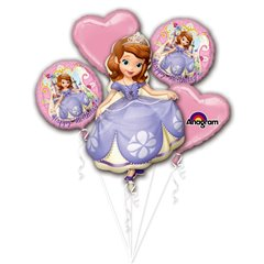 Disney Sofia the First Happy Birthday Balloon Bouquet, Amscan 2772101, Pack of 5 piece