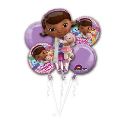 Buchet baloane Happy Birthday Doc McStuffins, Amscan 27722, Set 5 buc