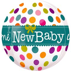 "Balon folie orbz sfera ""Welcome New Baby"" - 38x40cm, Amscan 2837101"