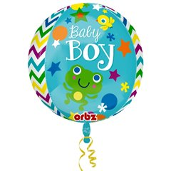 Balon folie orbz sfera Baby Boy - 38x40cm, Amscan 2877501