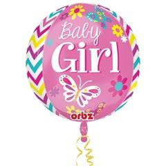 Balon folie orbz sfera Baby Girl - 38x40cm, Amscan 2877601