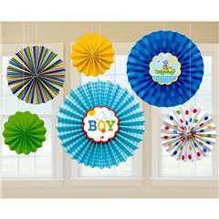 Baby Blue Paper Fan Decorations, Amscan 291117, Pack of 6 pieces