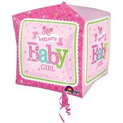 Cubez Welcome Baby Girl Butterfly Foil Balloon - 38x40cm, Amscan 3069101
