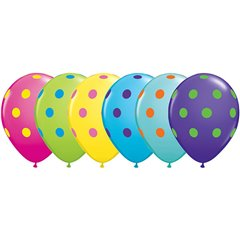 Baloane latex Big Polka Dots asortate - 11''/28cm, Qualatex 10240, Set 50 buc