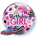 Birthday Girl Floral Zebra Stripes Bubble Balloon - 22''/56cm, Qualatex 13738