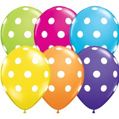 "11"" Big Polka Dots Tropical Asst Latex Balloons, Qualatex 18650, (50 Pcs)"