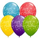 """11"""" Round Assorted Happy Birthday, Qualatex 19166, Pack of 25 pieces"""
