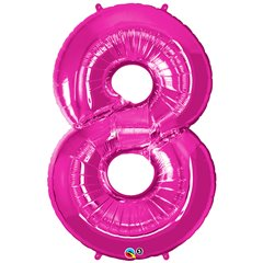 Number 8 Pink SuperShape Foil Balloons - 86cm, Qualatex 30596
