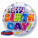 "Balon Bubble 22""/56cm Happy Birthday, Qualatex 30808"
