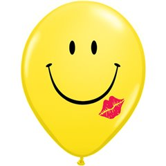 "Yellow ""A smile & a Kiss"" Latex Balloons - 11""/28cm, Qualatex 76896"