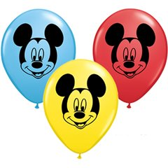 "6"" Printed Latex Balloons, Mickey Mouse, Qualatex 45336"