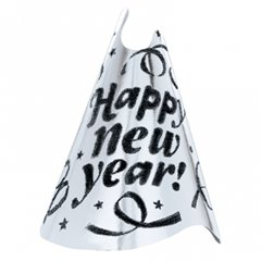 "Coif gri inscriptionat ""Happy New Year""- 23cm, Amscan 250163-18,1 buc"