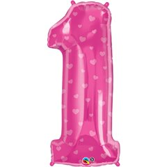 "Number 1 Pink Hearts SuperShape Foil Balloons - 38""/96cm, Qualatex 16480"