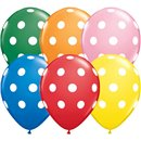 """11"""" Round Assortment Big Polka Dots (White), Qualatex 17316, Pack of 50 Pieces"""