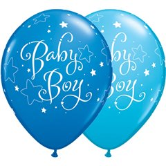 "Baloane latex 11""/28cm - Baby Boy stelute, Qualatex 51787"