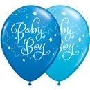 "Baloane latex 11""/28cm - Baby Boy stelute, Qualatex 51787, Set 25 buc"