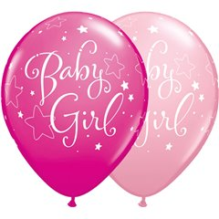 "Baby Girl Stars Latex Balloons - 11""/28cm, Qualatex 51814"