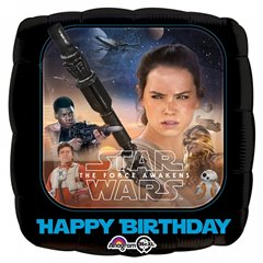 Star Wars The Force Awakens Happy Birthday Standard Foil Balloons, Amscan 3162001
