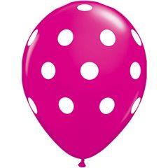 "Baloane latex 11""/28cm wild berry Big Polka Dots, Qualatex 37225, Set 50buc"