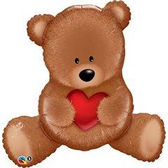 Balon folie figurina Teddy Bear Love - 89cm, Qualatex 65149