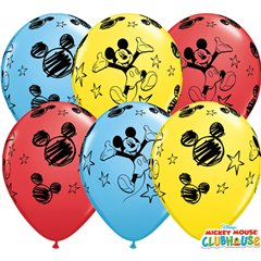"11"" Printed Latex Balloons - Mickey Mouse, Qualatex 18688, Pack of 25 Pieces"
