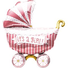 "Balon mini figurina carucior ""It's a girl"" 36cm+ bat si rozeta, Northstar Balloons 01179"