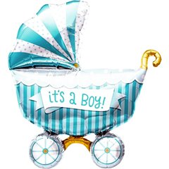 "Balon mini figurina carucior ""It's a boy"" 36cm + bat si rozeta, Northstar Balloons 01178"