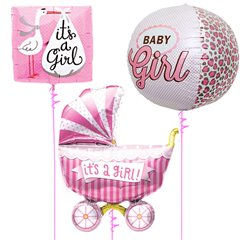 Baby Girl Balloon Bouquet -  43/46/102cm, Northstar Balloons 01241