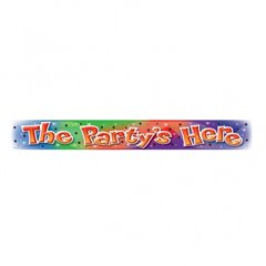 Banner Folie The party's here 3.63 m, Amscan, 992956, 6 buc