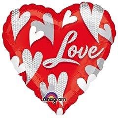 """Balon mini folie inima """"Love"""" 23cm, umflat + bat si rozeta, Amscan 20853"""