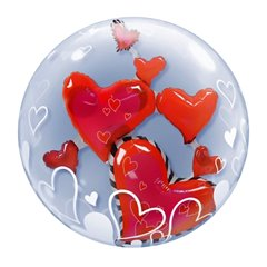 "Lovely Floating Hearts Double Bubble Balloon - 24""/61cm, Qualatex 68808"
