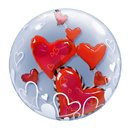 """Lovely Floating Hearts Double Bubble Balloon - 24""""/61cm, Qualatex 68808"""