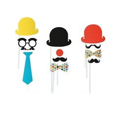 Party photo accessoires on stick, OOTB 181064, Pack of 4 pieces