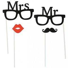 Accesorii pentru fotografii amuzante Mr & Mrs, OOTB OT181065, Set 4  buc