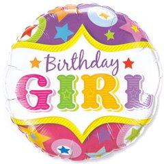 Balon folie 45cm Birthday Girl, Qualatex 25228