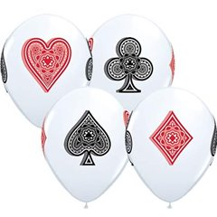 Card Suits White Latex Balloons, Qualatex 45527