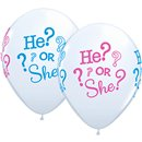 """He Or She Latex Balloons - 11""""/28cm, Qualatex 44790, Pack of 25 pieces"""