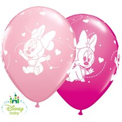 "11"" Printed Latex Balloons - Baby Minnie Mouse, Qualatex 42843, Pack of 25 Pieces"