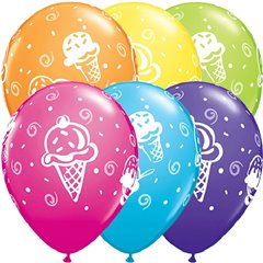 """11"""" Printed Latex Balloons - Ice Cream, Qualatex 44797, Pack of 25 Pieces"""