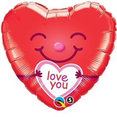 "Heart Foil Balloon Love You - 18""/45cm, Qualatex 21823"