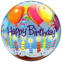 "Happy Birthday Bubble Balloon - 22""/56cm, Qualatex 25719"