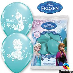Baloane latex Frozen Anna, Elsa,Olaf, Qualatex 19226, Set 6buc