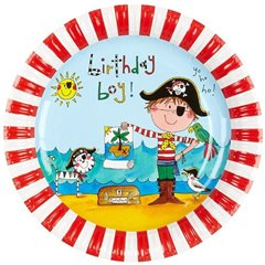 Farfurii petrecere copii 23 cm Pirati, Qualatex 50886, Set 8 buc