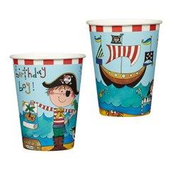 Pahare carton Pirati pentru petrecere copii, 250ml, Qualatex 50883, Set 8 buc