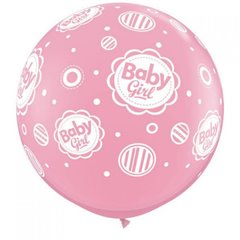 3' Jumbo Latex Balloons, Baby Girl, Qualatex 18510