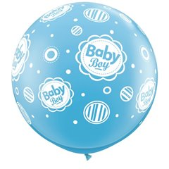 Baloane latex Jumbo Baby Boy pentru botez - 3 ft, Qualatex 18509, 1 buc