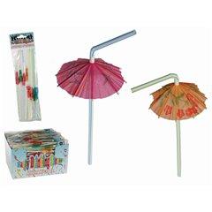 Paie flexibile cu umbreluta pentru cocktail - 24cm, Radar 62/0974, Set 8 buc